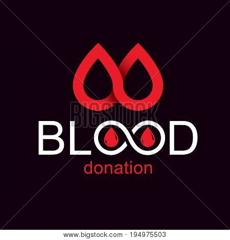 Blood donation concept vector graphic illustration isolated on white. Hematology theme emblem. The 14 June world blood donor day.