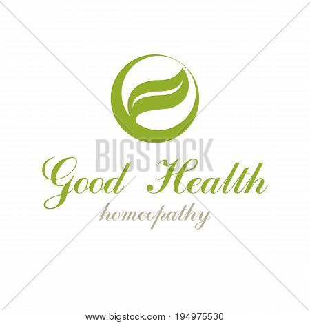 Green spring leaves vector graphic symbol for use in healthcare business. Vegetarian lifestyle conceptual logotype.