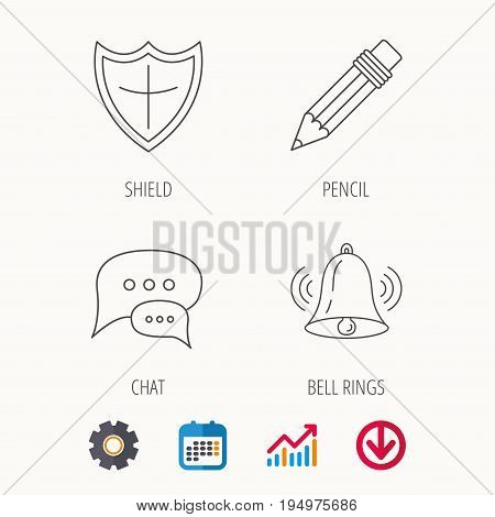 Chat, pencil and protection shield icons. Bell rings linear sign. Calendar, Graph chart and Cogwheel signs. Download colored web icon. Vector