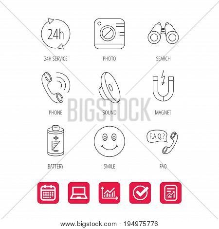 Phone call, battery and faq speech bubble icons. 24h service, photo camera and sound linear signs. Smile and search icons. Report document, Graph chart and Calendar signs. Laptop and Check web icons
