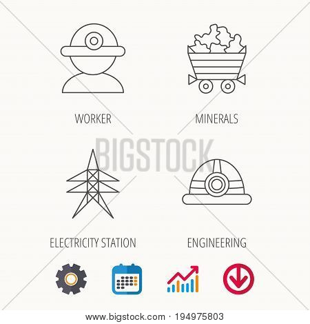 Worker, minerals and engineering helm icons. Electricity station linear sign. Calendar, Graph chart and Cogwheel signs. Download colored web icon. Vector
