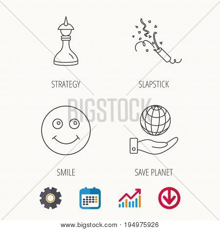 Save planet, slapstick and strategy icons. Smile linear sign. Calendar, Graph chart and Cogwheel signs. Download colored web icon. Vector
