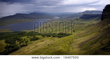View on Loch Fada from mountain Storr on Isle of Skye, Scotland