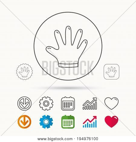 Rubber gloves icon. Latex hand protection sign. Housework cleaning equipment symbol. Calendar, Graph chart and Cogwheel signs. Download and Heart love linear web icons. Vector