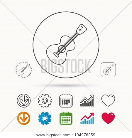 Guitar icon. Musical instrument sign. Band guitarist symbol. Calendar, Graph chart and Cogwheel signs. Download and Heart love linear web icons. Vector