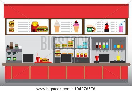 Fast food restaurant interior with hamburgers french fries and beverages. Food court concept Flat design vector illustration