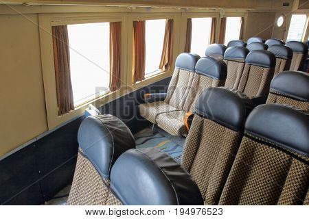 Seats In The Passenger Cabin Of An Old Vintage Disused Cross Channel Hovercraft