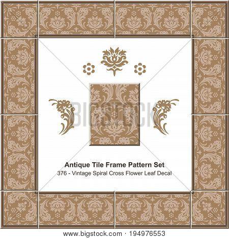 Antique Tile Frame Pattern Set Vintage Brown Spiral Cross Flower Leaf Decal