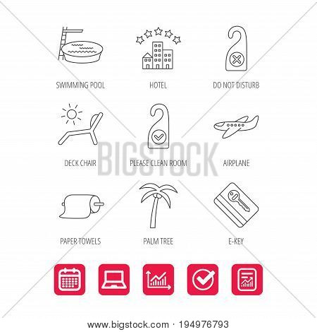 Hotel, swimming pool and beach deck chair icons. E-key, do not disturb and clean room linear signs. Paper towels, palm tree and airplane icons. Report document, Graph chart and Calendar signs. Vector