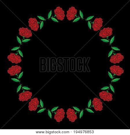 Round frame with embroidery stitches imitation red roses. Fashion embroidery rose flower on black background. Embroidery big roses vector.