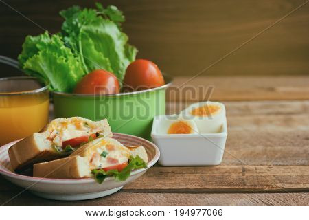 Pocket Sandwich For Breakfast Or Lunch. Homemade Sandwich With Hard Boiled Eggs And Mayonnaise Decor