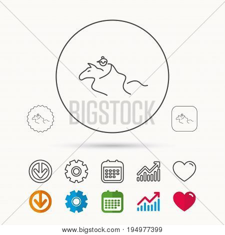 Horseback riding icon. Jockey rider sign. Horse sport symbol. Calendar, Graph chart and Cogwheel signs. Download and Heart love linear web icons. Vector