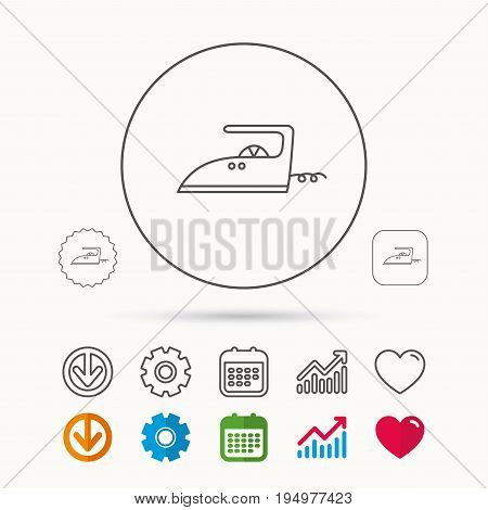 Iron icon. Ironing housework sign. Laundry service symbol. Calendar, Graph chart and Cogwheel signs. Download and Heart love linear web icons. Vector