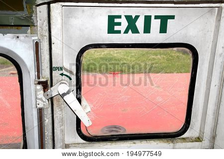 Emergency Exit Of A Vintage Disused Hovercraft