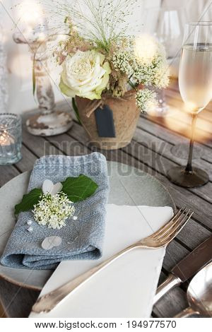 Festive table decoration in vintage style for a wedding