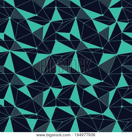 Geometric line hipster seamless pattern with triangle, dot. Reticulated abstract linear grid. Retro scrapbook paper. Vector illustration. Memphis shapes background. Abstract jumble graphic texture.