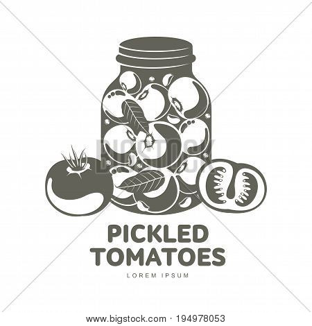 Pickled tomatoes glass jar logo for your design. Home canning, tomatoes, marinade, black peppercorn, bay leaf, brine. Pickled tomatoes badges, labels. Vector illustration isolated on white background