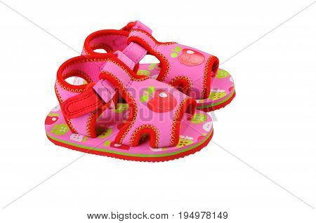 Pink baby sandals. Isolated on white background