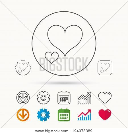 Love hearts icon. Lovers sign. Couple relationships. Calendar, Graph chart and Cogwheel signs. Download and Heart love linear web icons. Vector