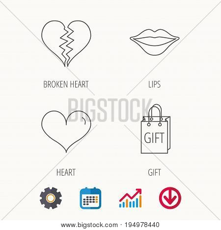 Love heart, kiss lips and gift icons. Broken heart linear sign. Calendar, Graph chart and Cogwheel signs. Download colored web icon. Vector