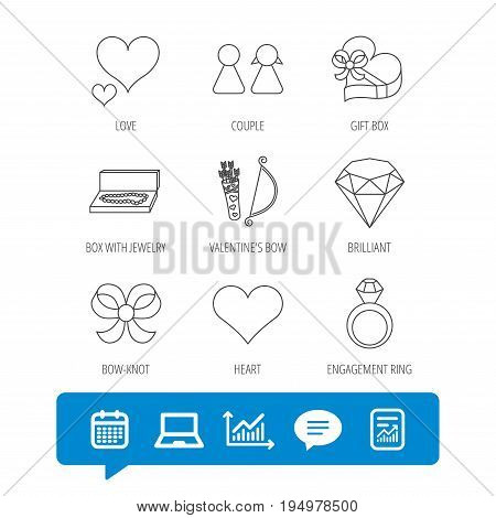 Love heart, brilliant and engagement ring icons. Bow, couple and gift box linear signs. Valentine amour arrows flat line icons. Report file, Graph chart and Chat speech bubble signs. Vector