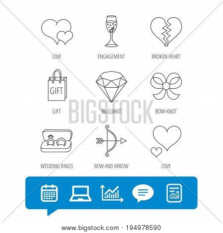 Love heart, gift box and wedding rings icons. Broken heart and engagement linear signs. Valentine amour arrow, brilliant flat line icons. Report file, Graph chart and Chat speech bubble signs. Vector