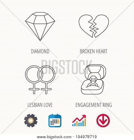 Broken heart, diamond and engagement ring icons. Lesbian love linear sign. Calendar, Graph chart and Cogwheel signs. Download colored web icon. Vector