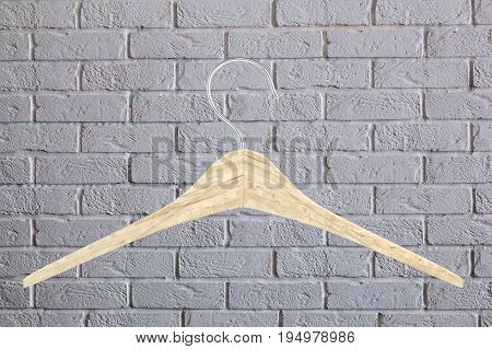 Wooden Clothes Hanger Illustration Of Classic Clothes Hanger Isolated On Brick Wall Background 3D
