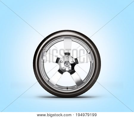 Car Wheel Side View Isolated On Blue Background 3D Without Shadow
