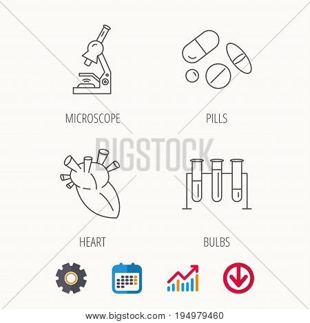 Microscope, medical pills and heart icons. Lab bulbs linear sign. Calendar, Graph chart and Cogwheel signs. Download colored web icon. Vector