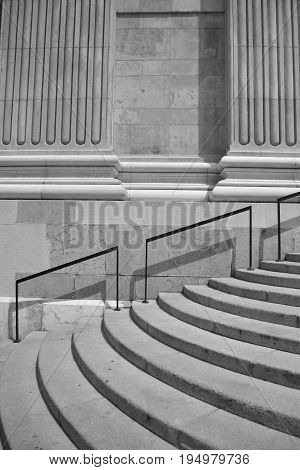 stairway to the St. Stephen basilica Budapest Hungary