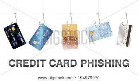 Real fishing hook phishing credit card vector