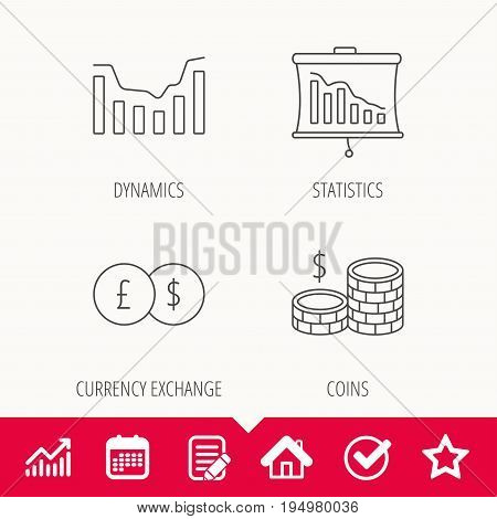 Banking, cash money and statistics icons. Dynamics, currency exchange linear signs. Edit document, Calendar and Graph chart signs. Star, Check and House web icons. Vector