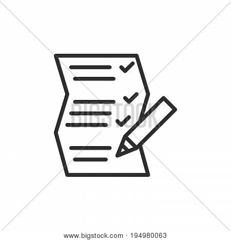 List paper and pencil line icon outline vector sign linear style pictogram isolated on white. Symbol logo illustration. Editable stroke. Pixel perfect graphics