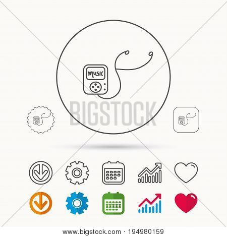 Music player icon. Songs portable device sign. Multimedia sound technology symbol. Calendar, Graph chart and Cogwheel signs. Download and Heart love linear web icons. Vector