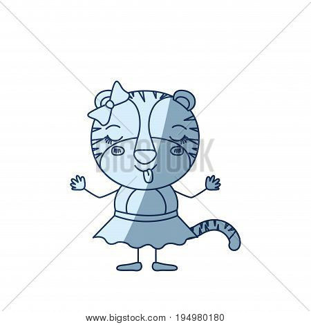 blue color shading silhouette caricature of cute female tigress in skirt with bow lace with disgust expression and sticking out tongue vector illustration