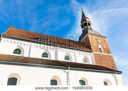 St Simon church against blue sky in Valmiera. Latvia
