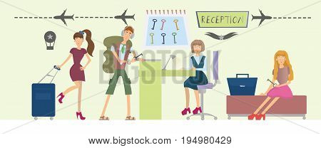 Guests of the hotel and the girl behind the counter at the reception. People in hotel or hostel lobby interior. Vector illustration.