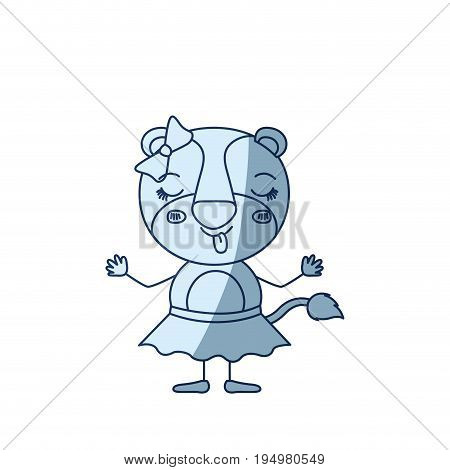 blue color shading silhouette caricature of cute female lioness in skirt with bow lace with disgust expression and sticking out tongue vector illustration