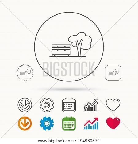 Public park icon. Tree with bench sign. Calendar, Graph chart and Cogwheel signs. Download and Heart love linear web icons. Vector