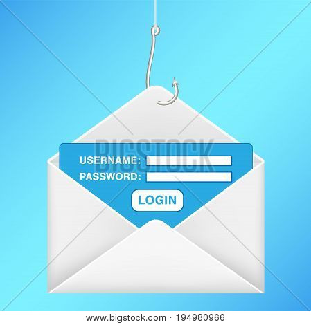 A fishing hook phishing email username password login illustration.
