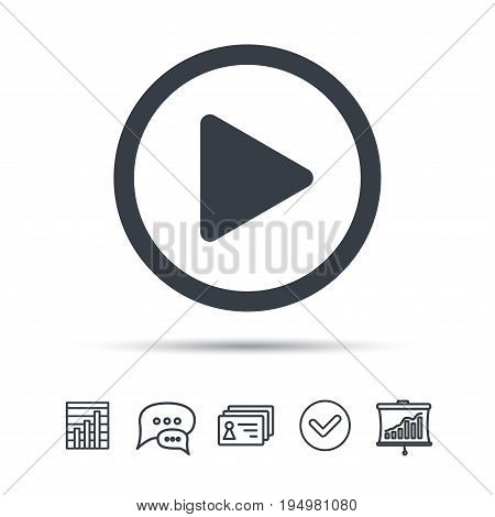Play icon. Audio or Video player symbol. Chat speech bubble, chart and presentation signs. Contacts and tick web icons. Vector