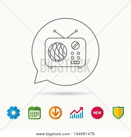 Radio icon. Retro musical receiver sign. Calendar, Graph chart and Cogwheel signs. Download and Shield web icons. Vector