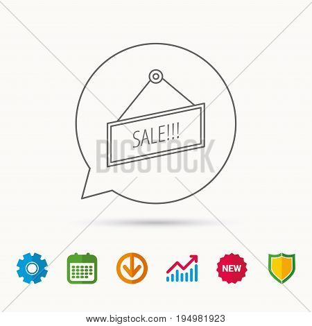 Sale icon. Advertising banner tag sign. Calendar, Graph chart and Cogwheel signs. Download and Shield web icons. Vector
