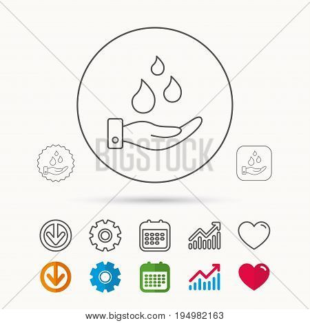 Save water icon. Hand with water drops sign. Ecology environment symbol. Calendar, Graph chart and Cogwheel signs. Download and Heart love linear web icons. Vector