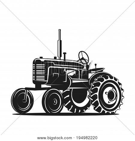 old tractor on white background vector illustration