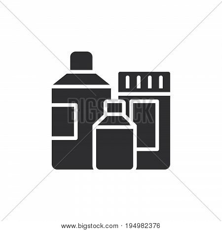 Detergent containers icon vector filled flat sign solid pictogram isolated on white. Symbol logo illustration. Pixel perfect graphics
