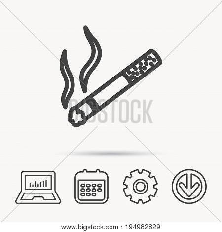 Smoking allowed icon. Yes smoke sign. Notebook, Calendar and Cogwheel signs. Download arrow web icon. Vector