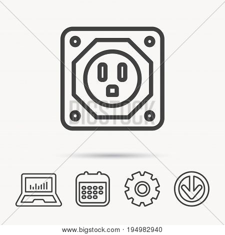 USA socket icon. Electricity power adapter sign. Notebook, Calendar and Cogwheel signs. Download arrow web icon. Vector