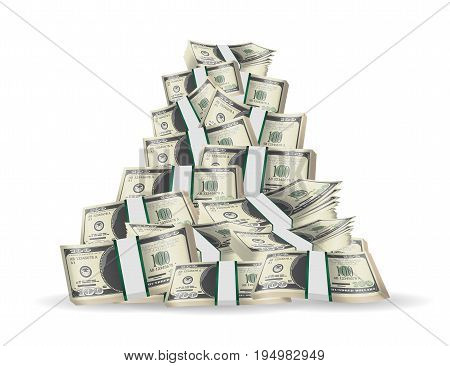 pile of pack banknotes on a white background